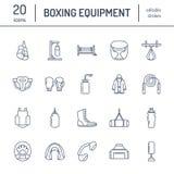 Verpackenvektorlinie Ikonen Punchbag, Boxerhandschuhe, Ring, Sandsäcke, lochende Handschuhe Sporttrainingszeichen eingestellt, Ka Stockbilder
