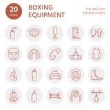 Verpackenvektorlinie Ikonen Punchbag, Boxerhandschuhe, Ring, Sandsäcke, lochende Handschuhe Sporttrainingszeichen eingestellt, Ka Stockfotos