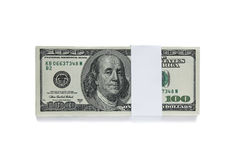Verpackt hundert Dollarscheinen auf Weiß Stockbild