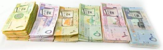 Verpackt Papierwährung in einer Linie von der Seite Stockfoto