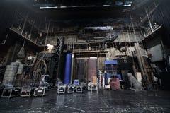 Verpackte Dekorationen auf Stadium in Vakhtangov-Theater Lizenzfreie Stockbilder