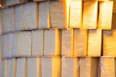 Verpackter Stapel des Käses Lizenzfreie Stockfotos