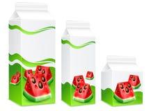 Verpackung des Wassermelonensafts Stockfotos