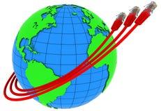 Verpackung mit drei rote Internet-Seilzügen um die Erde Lizenzfreie Stockfotografie