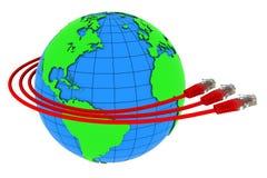 Verpackung mit drei rote Internet-Seilzügen um die Erde Lizenzfreie Stockbilder