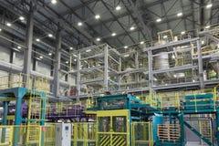Verpackungsbereich einer chemischen Fabrik Stockbild
