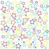 Verpackungsgestaltung mit farbigen Sternen lizenzfreie abbildung