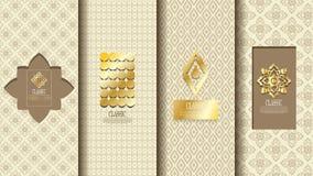 Verpackungsschablone des exotischen thailändischen Mustergestaltungselementkonzepthintergrund-Vektordesigns Stockfotografie