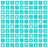100 verpakkende pictogrammen geplaatst grunge blauw Stock Afbeelding