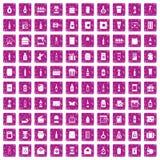100 verpakkende pictogrammen geplaatst grunge roze Stock Foto's