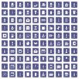 100 verpakkende pictogrammen geplaatst grunge saffier Stock Fotografie