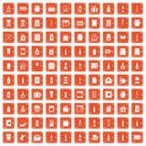 100 verpakkende pictogrammen geplaatst grunge sinaasappel Stock Afbeelding