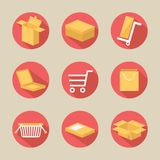 Verpakkende pictogrammen, vectorreeks Stock Afbeelding