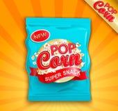 Verpakking met etiket van super snack - popcorn Royalty-vrije Stock Foto's