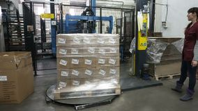 Verpakking van dozen met wijn op een pallet in de polymere film stock videobeelden