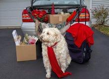 Verpakkingsauto met Kerstmisgiften, koffers klaar om voor de vakantie weg te gaan stock fotografie
