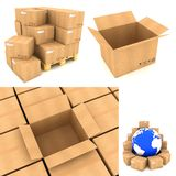 Verpakkingsconcepten - Reeks 3D Illustraties Stock Foto's