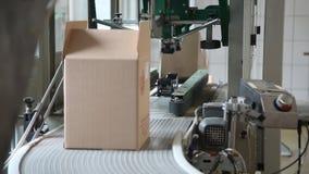 Verpakkingsdozen op transportband stock footage