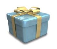 Verpakte blauwe gouden 3D gift Stock Afbeelding
