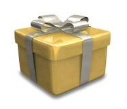 Verpakte gouden gele 3D gift Stock Afbeelding