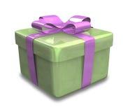 Verpakte groene violette 3D gift Stock Fotografie