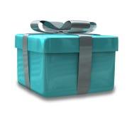 Verpakte lichtblauwe 3D gift Stock Afbeeldingen