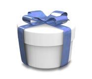 Verpakte witte en blauwe (3D) gift Stock Fotografie
