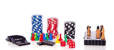 Verpandt het gokken spaanders en spelen Stock Foto