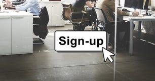 Verpflichtung schließen sich Anmeldungs-Mitgliedsnetz-Seiten-Benutzer-Konzept an Lizenzfreies Stockfoto