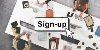 Verpflichtung schließen sich Anmeldungs-Mitgliedsnetz-Seiten-Benutzer-Konzept an Stockfotos