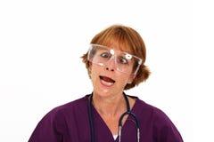 Verpleegster die Goofy Gezicht maakt Stock Afbeelding