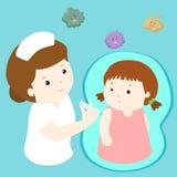 Verpleegster die inentingsinjectie geven aan meisje Stock Illustratie
