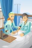 Verpleegster die op patiënt controleert Stock Afbeeldingen