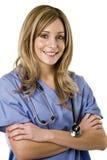 Verpleegster die op wit wordt geïsoleerd Royalty-vrije Stock Fotografie