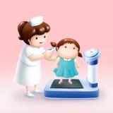 Verpleegster die temperatuurmeisje nemen Stock Illustratie