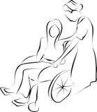 Verpleegster en gehandicapte patiënt vector illustratie
