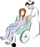 Verpleegster en gehandicapte patiënt royalty-vrije illustratie