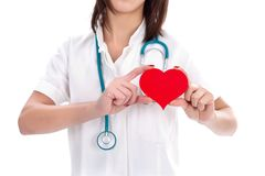 Verpleegster en hart Stock Fotografie