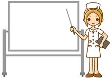 Verpleegster en whiteboard Stock Afbeeldingen