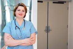Verpleegster in het ziekenhuis royalty-vrije stock afbeelding