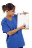 Verpleegster met Clipbard Royalty-vrije Stock Afbeeldingen