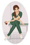 Verpleegster met een kop van koffie. Stock Afbeelding