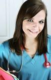 Verpleegster met Grafieken Stock Fotografie