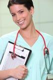 Verpleegster met klembord Royalty-vrije Stock Foto's