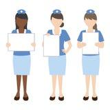 Verpleegster met leeg teken Stock Foto