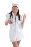 Verpleegster met spuit Stock Afbeeldingen