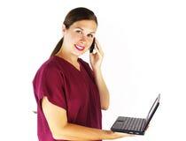 Verpleegster met Technologie Stock Foto