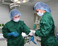 Verpleegsters die handschoenen dragen stock afbeelding