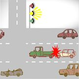 Verpletter de auto's op de wegen Stock Afbeeldingen