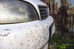 Verpletterd insect op autobumper en radiator Verpletter de muggen en de muggen bij de voorzijde van het voertuig royalty-vrije stock afbeelding